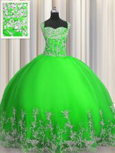 Green Ball Gowns Straps Sleeveless Tulle Floor Length Lace Up Beading and Appliques Sweet 16 Quinceanera Dress