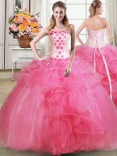 Edgy Hot Pink Sleeveless Tulle Lace Up Quinceanera Dresses for Military Ball and Sweet 16 and Quinceanera