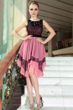 Noble Scoop Pink And Black Chiffon Side Zipper Evening Dress Sleeveless Asymmetrical Beading and Lace