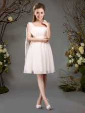 Flare One Shoulder Champagne Zipper Quinceanera Court of Honor Dress Beading and Ruching Sleeveless Mini Length