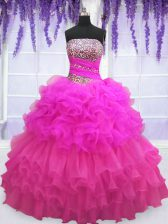 Enchanting Floor Length Multi-color Ball Gown Prom Dress Organza Sleeveless Beading and Ruffled Layers and Pick Ups