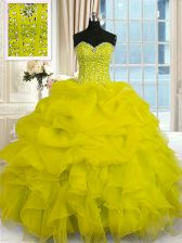 Deluxe Sweetheart Sleeveless Quinceanera Gowns Floor Length Beading and Ruffles Yellow Organza