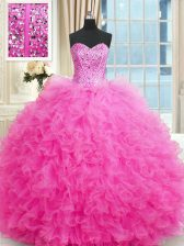 Dazzling Hot Pink Sweetheart Neckline Beading and Ruffles Ball Gown Prom Dress Sleeveless Lace Up