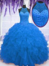 Affordable Floor Length Blue Quinceanera Gowns Organza Sleeveless Beading and Ruffles