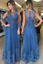 Low Price Scoop Sleeveless Floor Length Beading and Appliques Zipper Homecoming Dress with Blue