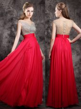 High End Floor Length Coral Red Evening Dress Chiffon Cap Sleeves Beading