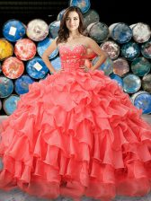 Simple Coral Red Ball Gowns Beading and Ruffles Sweet 16 Dress Lace Up Organza Sleeveless Floor Length