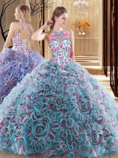 Popular Sleeveless Sweep Train Criss Cross Ruffles and Pattern Sweet 16 Dress