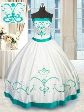 Beading and Embroidery 15 Quinceanera Dress White Lace Up Sleeveless Floor Length