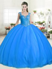 Beautiful Straps Floor Length Zipper Quinceanera Dresses Blue for Military Ball and Sweet 16 and Quinceanera with Beading