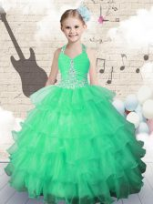 Halter Top Green Ball Gowns Beading and Ruffled Layers Little Girls Pageant Dress Wholesale Lace Up Organza Sleeveless Floor Length