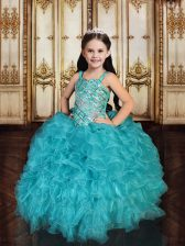 Affordable Teal Tulle Lace Up Straps Sleeveless Floor Length Kids Formal Wear Beading and Ruffles and Sequins