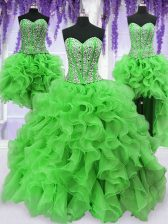 Four Piece Sweetheart Neckline Beading and Ruffles Quinceanera Gown Sleeveless Lace Up