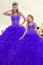 Fashion Blue and Purple Lace Up Sweet 16 Dresses Beading and Ruffles Sleeveless Floor Length