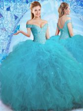 Off the Shoulder Sleeveless Beading and Ruffles Lace Up Quinceanera Dresses