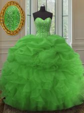 Admirable Sweetheart Sleeveless Ball Gown Prom Dress Floor Length Beading and Ruffles and Pick Ups Green Organza