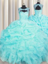 Sweet Aqua Blue Sweet 16 Dresses Military Ball and Sweet 16 and Quinceanera with Beading and Pick Ups Scoop Sleeveless Lace Up