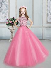 Floor Length Ball Gowns Sleeveless Rose Pink Girls Pageant Dresses Lace Up