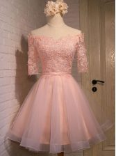 Off the Shoulder Peach Organza Lace Up Prom Evening Gown Short Sleeves Mini Length Appliques