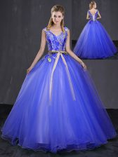 Beauteous Floor Length Royal Blue Quinceanera Gowns Tulle Sleeveless Appliques and Belt
