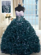 Modest Teal Organza Lace Up Ball Gown Prom Dress Sleeveless With Brush Train Beading and Ruffles
