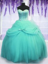 Aqua Blue Quinceanera Gown Military Ball and Sweet 16 and Quinceanera with Beading and Sequins and Bowknot Sweetheart Sleeveless Lace Up