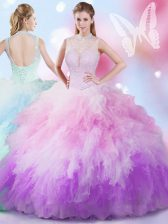 Multi-color Ball Gowns Beading and Ruffles Quinceanera Dress Lace Up Tulle Sleeveless Floor Length