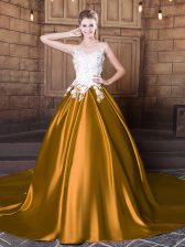 Gold Scoop Lace Up Lace and Appliques Quinceanera Gown Court Train Sleeveless