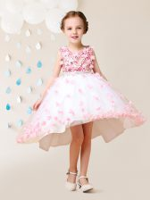 Superior Scoop Lace and Appliques Flower Girl Dress Pink And White Zipper Sleeveless High Low