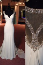 Mermaid Scoop Side Zipper Homecoming Dress White for Prom and Party with Beading Sweep Train