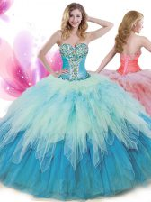 Luxury Sleeveless Beading and Ruffles Lace Up Quinceanera Gown