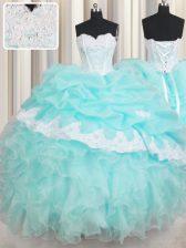 Ruffled Floor Length Baby Blue Sweet 16 Dresses Sweetheart Sleeveless Lace Up