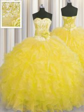 Handcrafted Flower Gold Sweetheart Lace Up Beading and Ruffles and Hand Made Flower 15 Quinceanera Dress Sleeveless