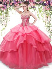 Fantastic Sleeveless Beading and Ruffled Layers Lace Up Quinceanera Dresses