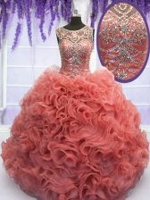 Chic Scoop Beading and Ruffles Sweet 16 Dress Coral Red Lace Up Sleeveless Floor Length