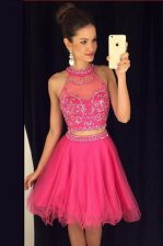 Latest Hot Pink Tulle Zipper Scoop Sleeveless Mini Length Prom Party Dress Beading