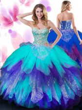 Artistic Tulle Sweetheart Sleeveless Lace Up Beading and Ruffles Sweet 16 Dresses in Multi-color