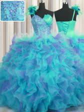 Customized One Shoulder Handcrafted Flower Floor Length Lace Up 15th Birthday Dress Multi-color for Military Ball and Sweet 16 and Quinceanera with Beading and Ruffles and Hand Made Flower