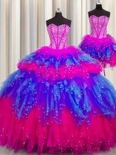 Elegant Three Piece Visible Boning Tulle Sweetheart Sleeveless Lace Up Beading Quinceanera Gown in Multi-color