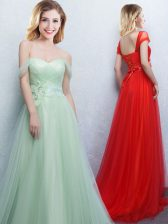 Fashionable Apple Green Damas Dress Prom and Party and Wedding Party with Appliques and Ruching Off The Shoulder Sleeveless Brush Train Lace Up