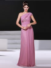 Flare Lilac Prom Gown Prom and Party with Ruching One Shoulder Sleeveless Criss Cross