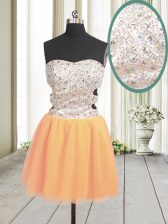 Mini Length Orange Prom Gown Tulle Sleeveless Beading and Sequins
