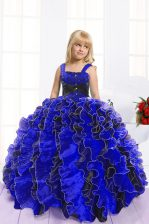 Best Blue And Black Organza Lace Up Little Girls Pageant Gowns Sleeveless Floor Length Beading and Ruffles