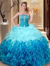 Ball Gowns Ball Gown Prom Dress Multi-color Sweetheart Organza Sleeveless Floor Length Lace Up