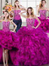 Luxurious Four Piece Fuchsia Organza Lace Up Sweetheart Sleeveless Vestidos de Quinceanera Beading and Ruffles