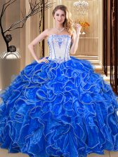 Unique Ball Gowns 15th Birthday Dress Royal Blue Strapless Organza Sleeveless Floor Length Lace Up