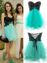 Mini Length Turquoise Prom Evening Gown Sweetheart Sleeveless Zipper