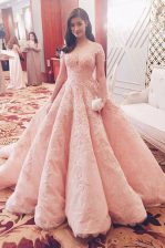 Excellent Pink Zipper Evening Dress Lace Short Sleeves With Train Sweep Train