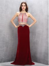 Excellent Scoop Sleeveless Sweep Train Beading Criss Cross Prom Evening Gown