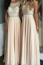 Vintage Champagne Side Zipper Dress for Prom Beading Cap Sleeves Floor Length